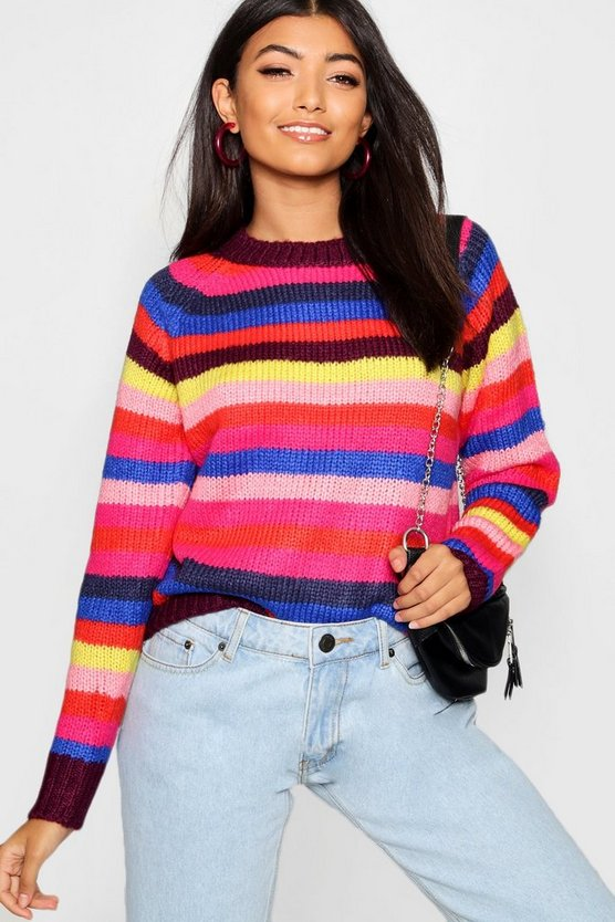 Womens Multi Rainbow Stripe Knitted Jumper
