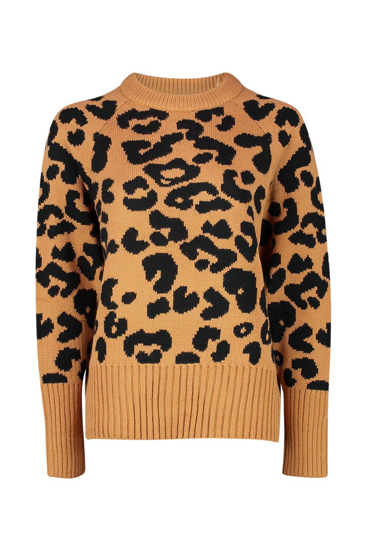 Knitted Leopard camel Leopard Knitted Jumper qE7OdOw