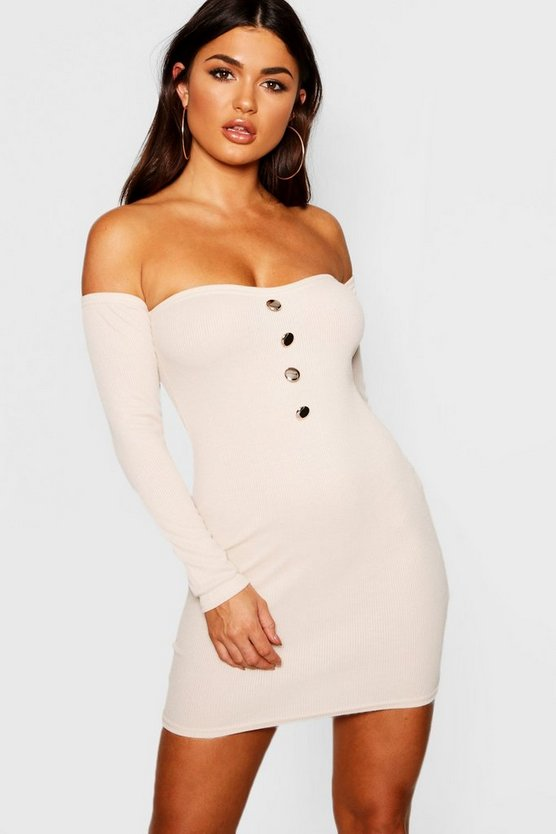 Rib Knit Button Front Bardot Dress