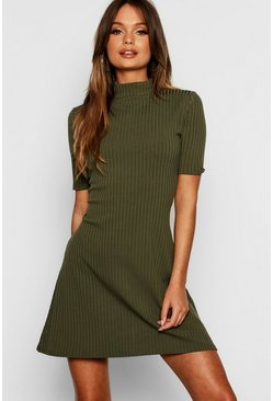 Womens Olive Turtle Neck Rib Knit Swing Dress