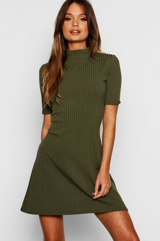 Turtle Neck Rib Knit Swing Dress