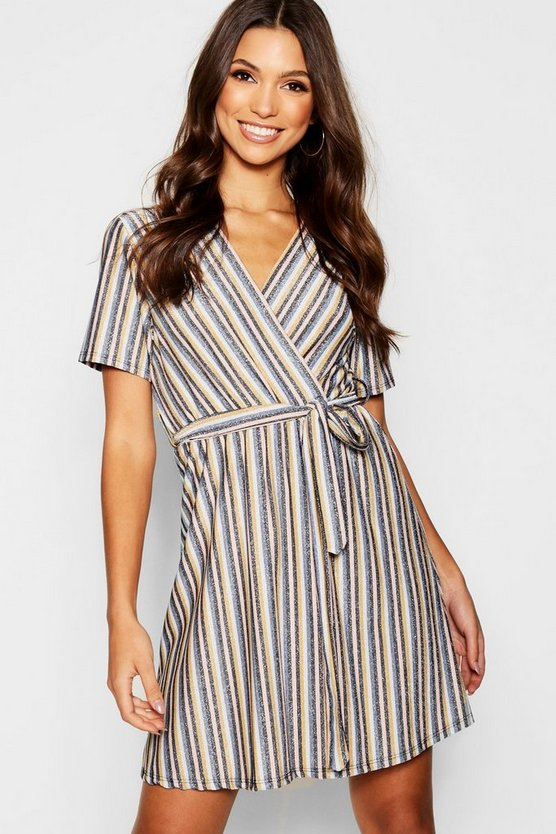 Metallic Knitted Stripe Wrap Front Dress