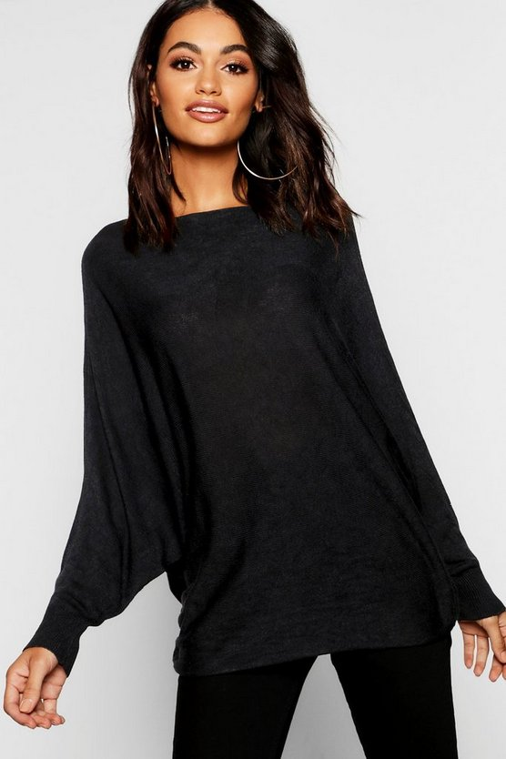 Womens Black Oversized Fine Gauge Batwing Sweater