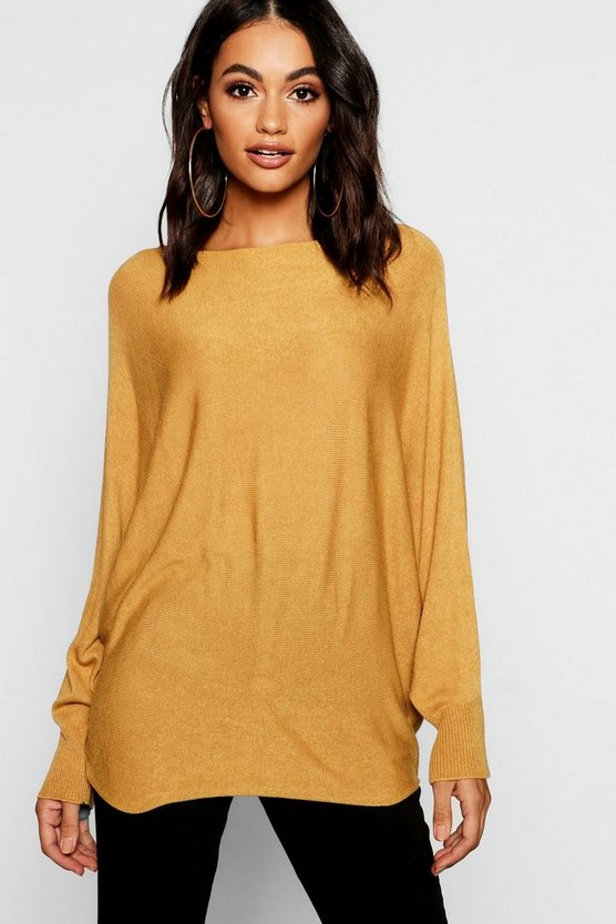 Womens Mustard Oversized Fine Gauge Batwing Sweater