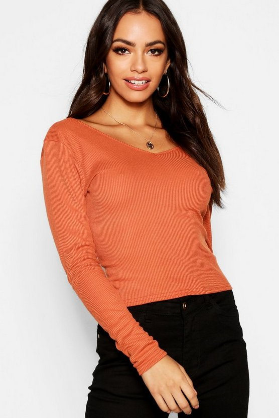 Womens Rust Twist Back Rib Knit Sweater