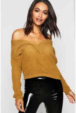 Womens Chartreuse Off The Shoulder Crop Jumper