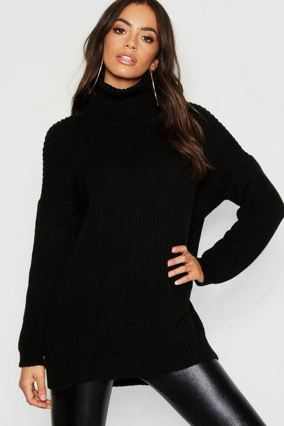 Womens Black Roll Neck Oversized Boyfriend Jumper