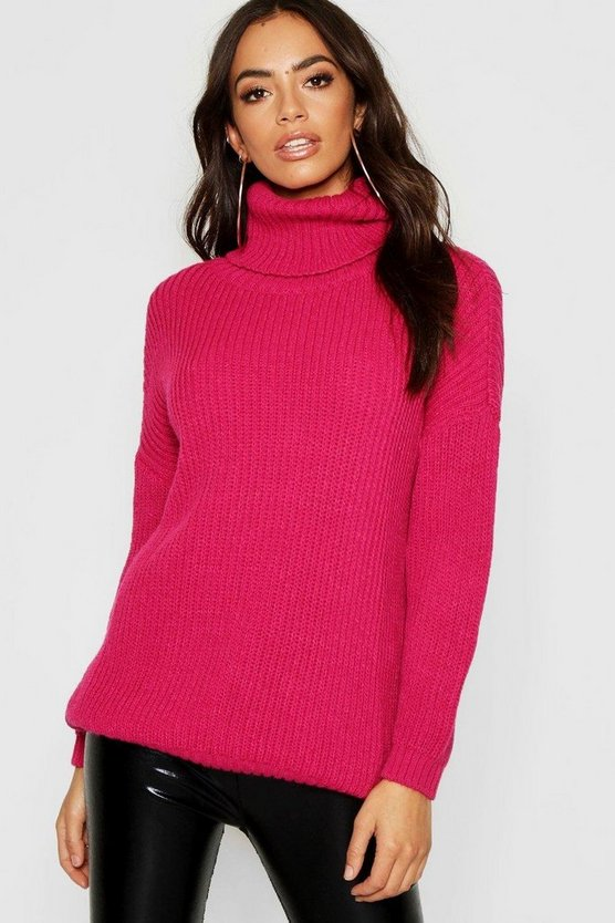 Roll Neck Oversized Boyfriend Jumper