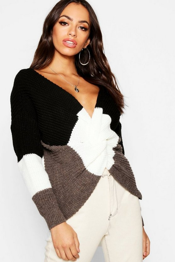 Colour Block Front Knot Jumper