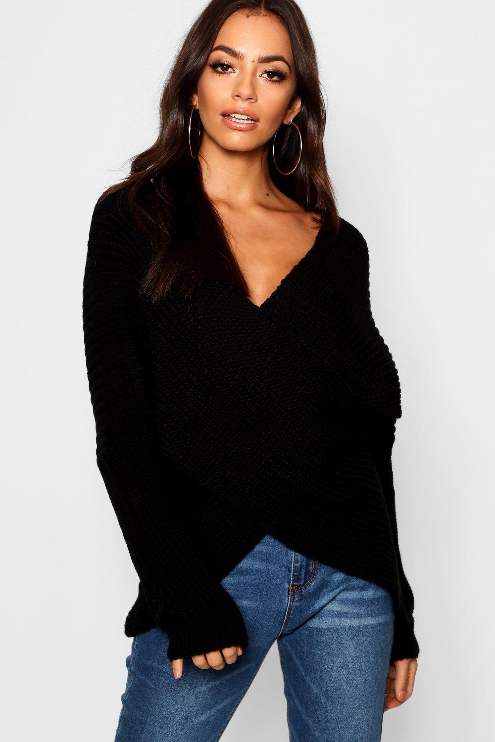 Jumper Back Jumper Knitted Wrap Back Wrap black Knitted black Back Knitted Wrap black Jumper EHWAqEdR