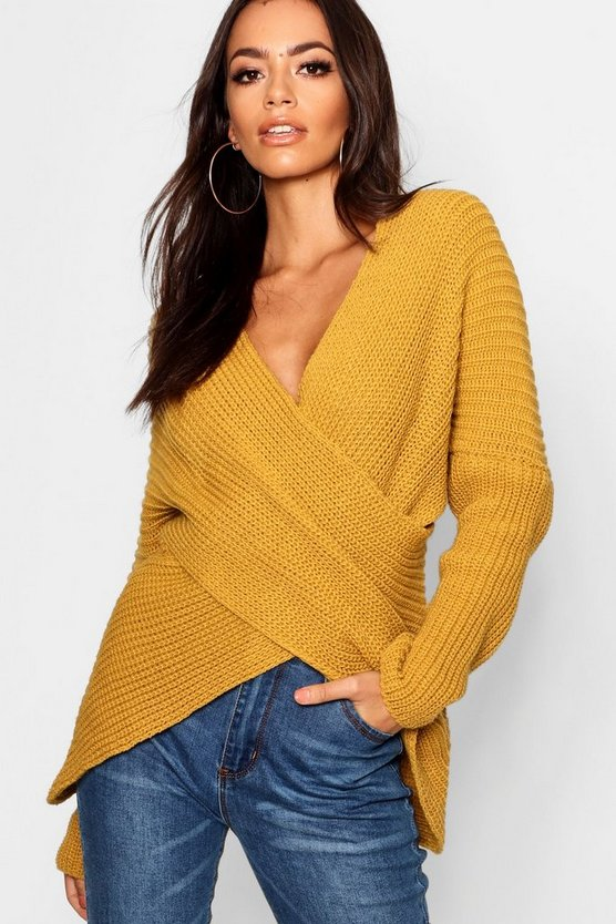 Womens Mustard Wrap Front Knitted Jumper