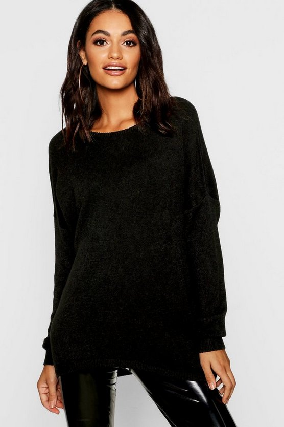 Womens Black Soft Knit Oversized Boyfriend Jumper