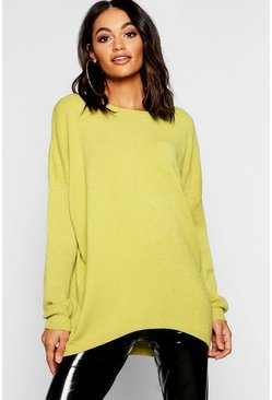 Womens Lime Soft Knit Oversized Boyfriend Jumper