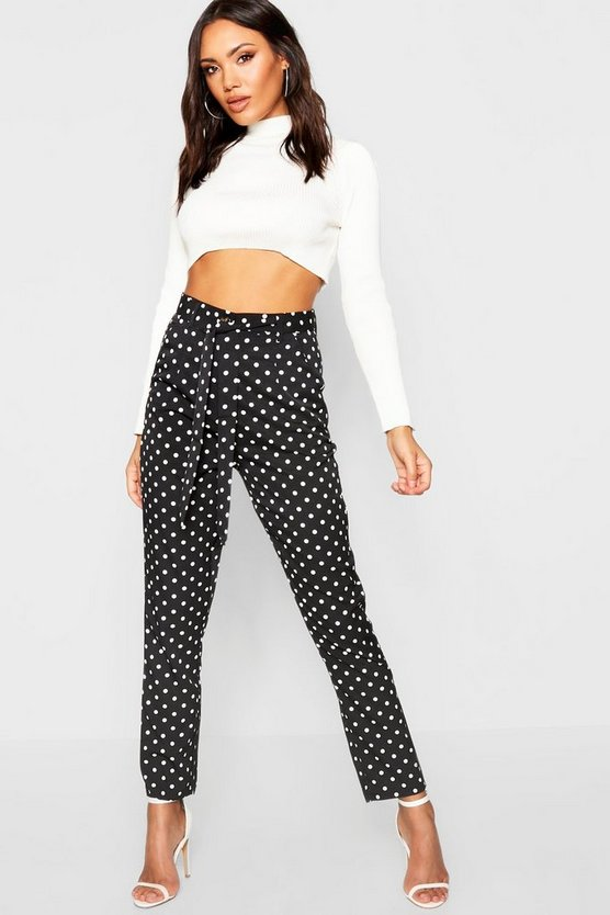 Polka Dot Tie Waist Woven Slim Fit Trousers