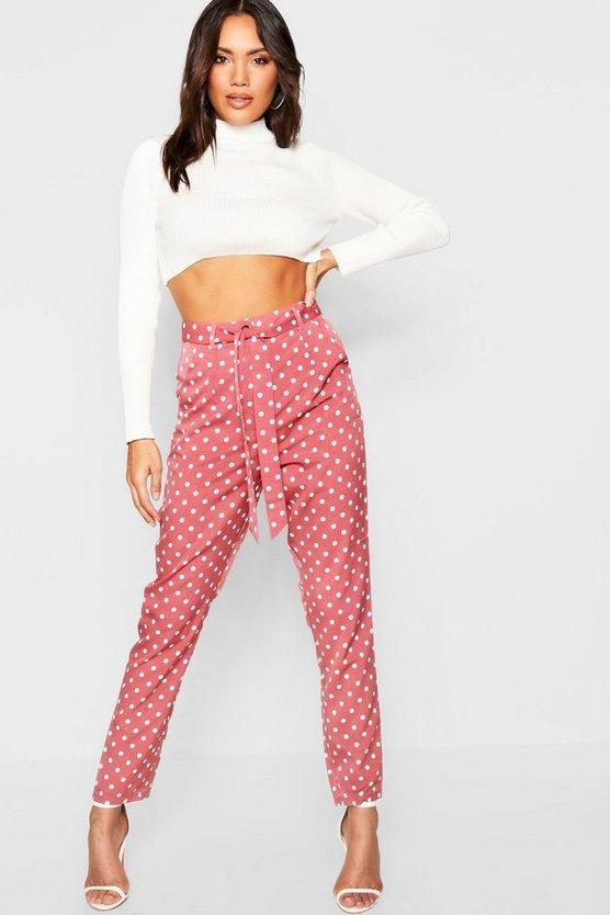Womens Polka Dot Tie Waist Woven Slim Fit Trousers