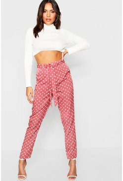 Womens Blush Polka Dot Tie Waist Woven Slim Fit Trousers