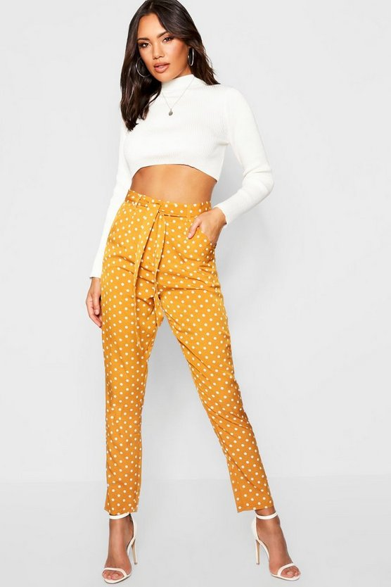Polka Dot Tie Waist Woven Slim Fit Pants