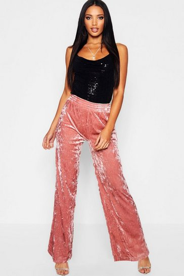 Womens Pink Crushed Velvet Wide Leg Trousers