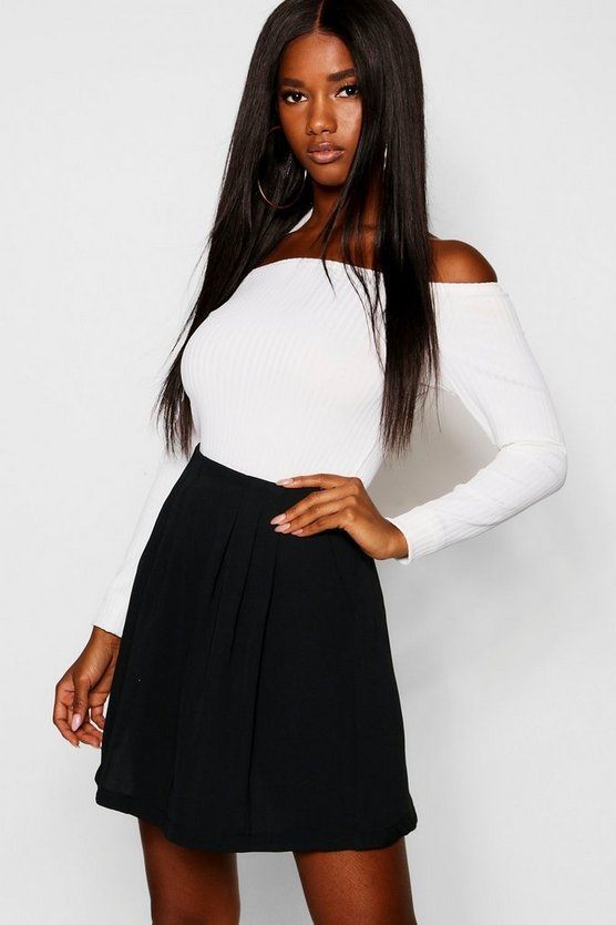 Pleated Front Mini Skirt