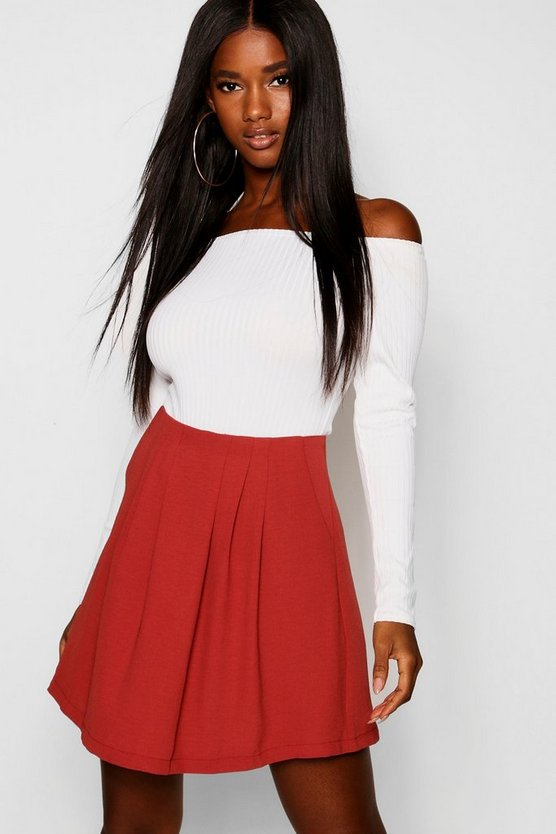 Womens Rust Pleated Front Mini Skirt