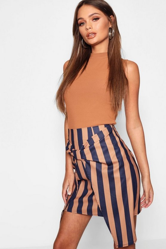 Womens Chocolate Tie Front Tonal Stripe Mini Skirt