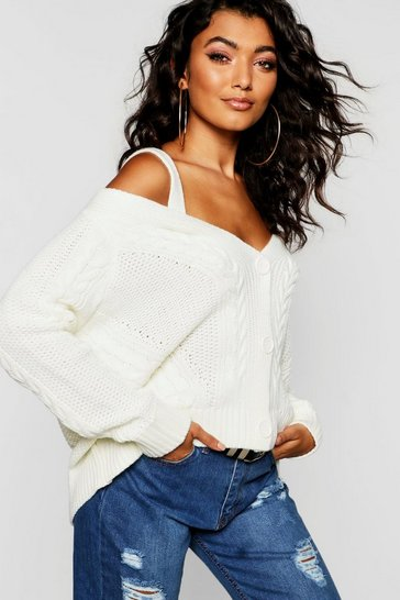 Womens Cream Cold Shoulder Cable Knit Cardigan