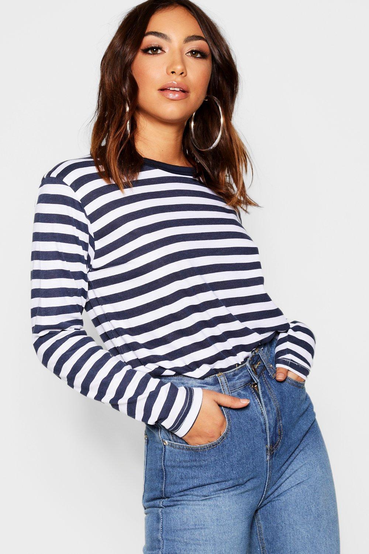 Sleeve T navy Basic Long Cotton Stripe Shirt qFwxR8tx