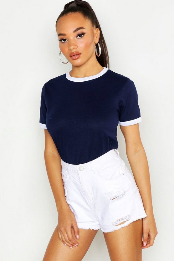 Navy Basic Ringer T-Shirt