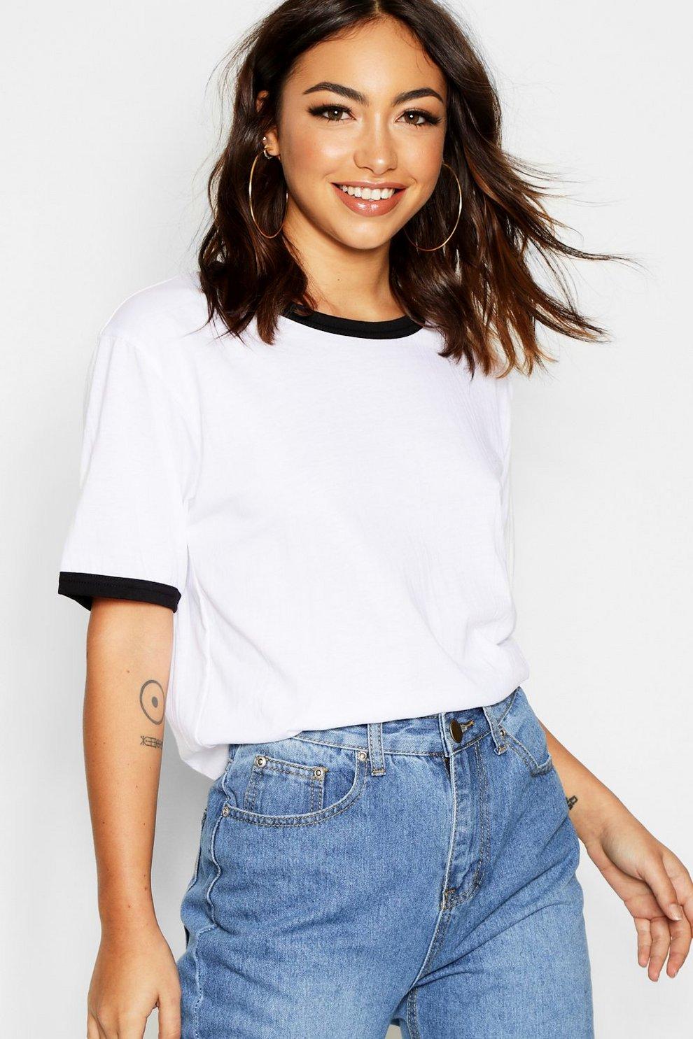 947efbe909d33 T-shirt basique à bords en coton | Boohoo