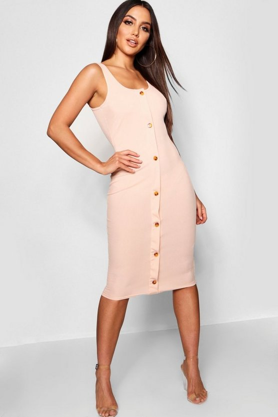 Button Detail Rib Midi Dress
