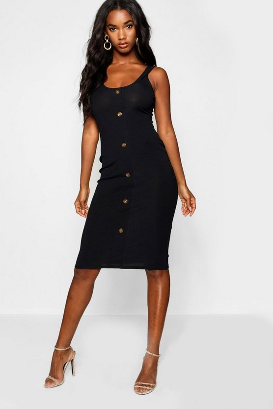 Womens Black Button Detail Ribbed Midi Dress