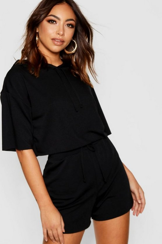 Womens Black Raw Edge Crop Hoody & Shorts Co-ord Set