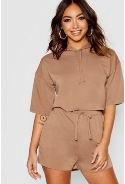 Womens Mocha Raw Edge Crop Hoody & Shorts Co-ord Set