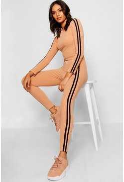 Womens Stone Sports Stripe Rib Long Sleeve Top & Trouser Co-ord