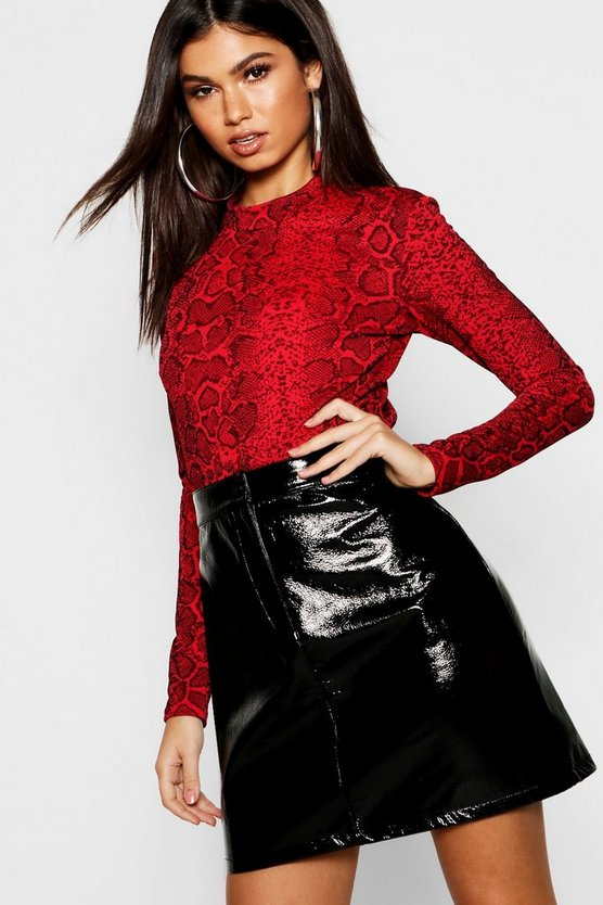 High Shine A Line Leather Look Mini Skirt