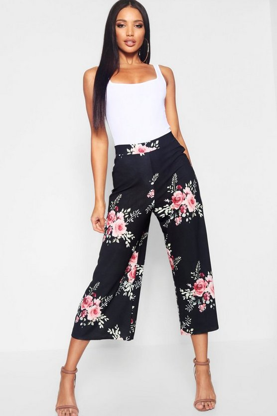 Womens Black Woven Floral Wide Leg Culottes