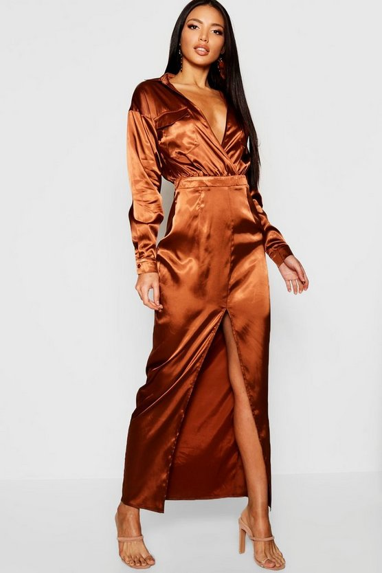Womens Chocolate Utility Satin Pocket Detail Maxi Dress