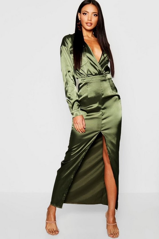 Womens Khaki Utility Satin Pocket Detail Maxi Dress