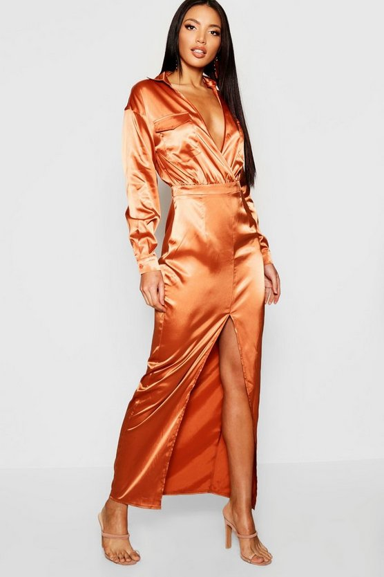 Utility Satin Pocket Detail Maxi Dress