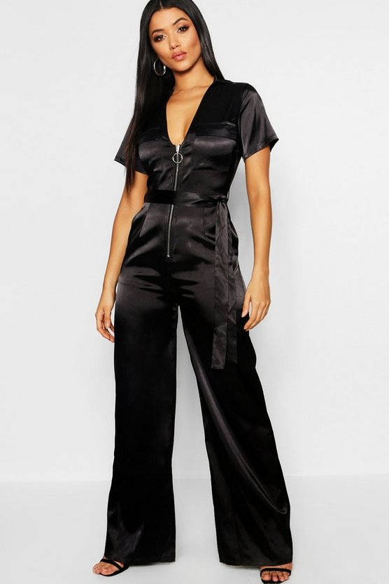 Womens Satin Utility Cargo Zip Front Wide Leg Jumpsuit