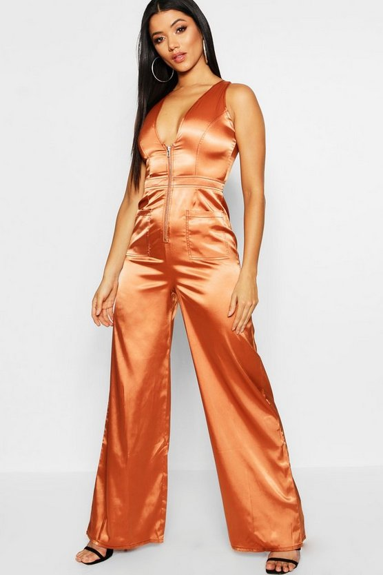 Utility Cargo Satin Zip Detail Wide Leg Jumpsuit