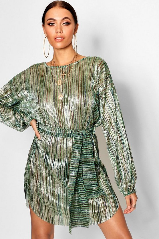 Metallic Plisse Blouson Belted Dress
