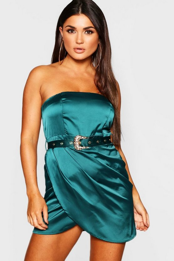 Satin Belted Bandeau Mini Dress