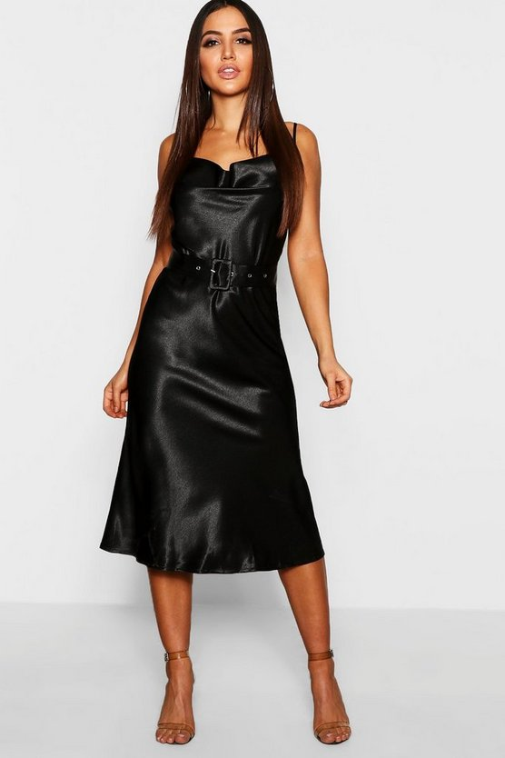 Womens Black Satin Belted Cowl Neck Midi Dress