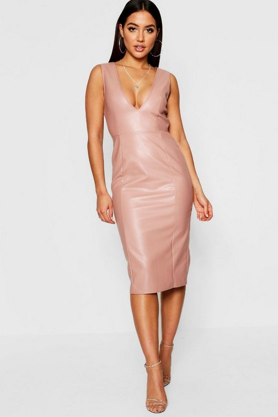 PU Plunge Neck Midi Dress