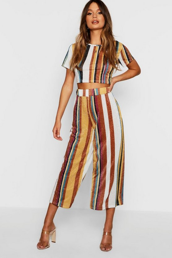 Knitted Cropped Stripe Metallic Set