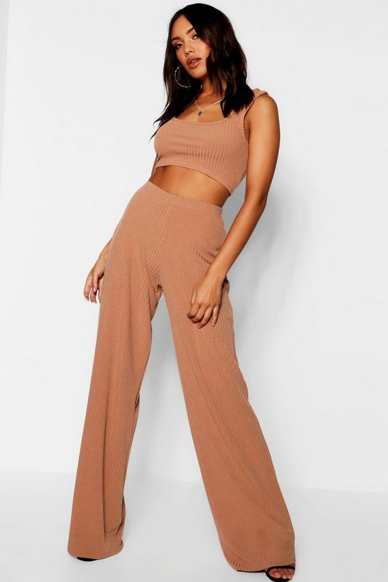 Square Neck Wide Leg Rib Knit Co-ord