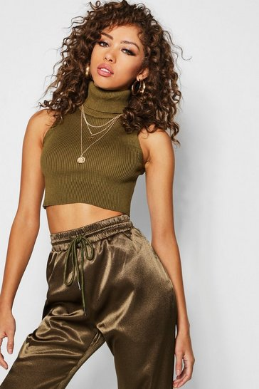 Womens Khaki Roll Neck Knitted Ribbed Crop Top