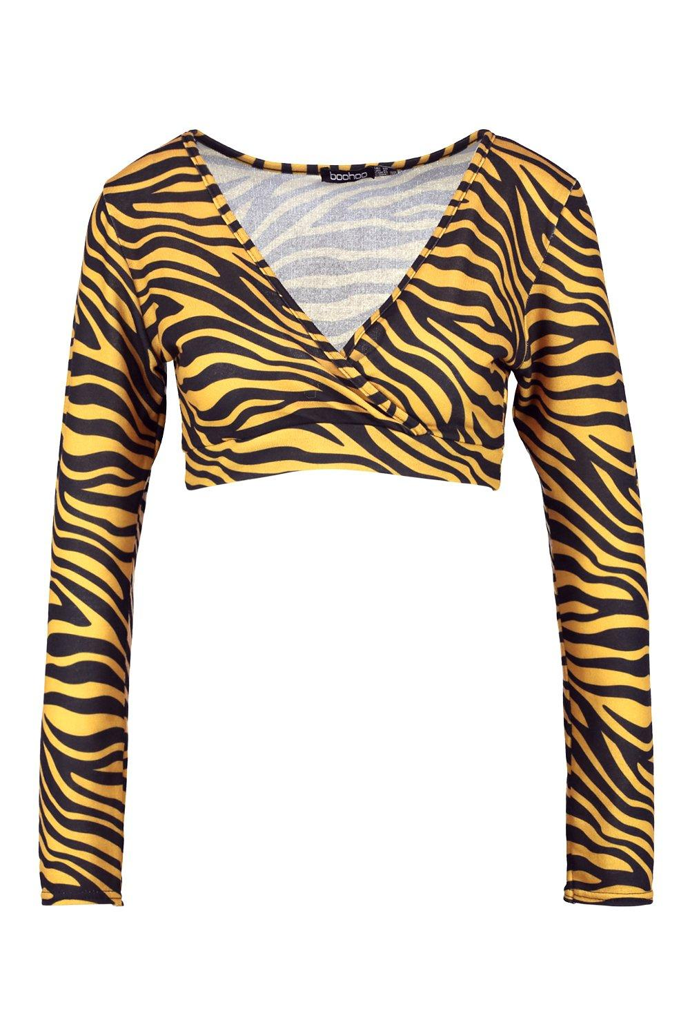 Knitted Print Tiger Top mustard Wrap 58BYwCq