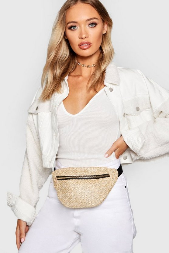 Womens Natural Straw Bumbag
